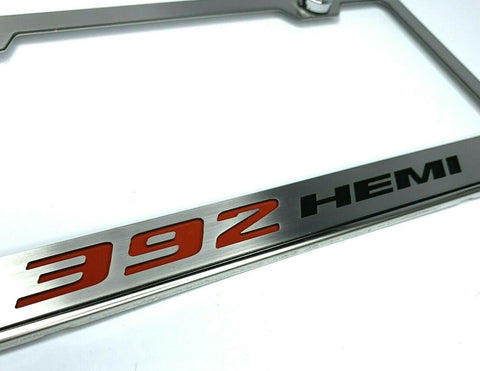Stainless Steel License Plate Frame w/ 392 HEMI Emblem (Licensed by MOPAR)