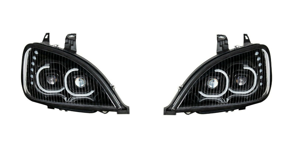 Pair of Blackout LED Headlights with LED Turn Signal & Halo for Freightliner Columbia - 1