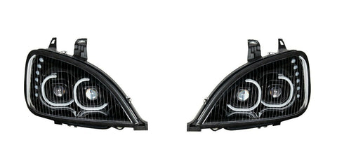 Image of Pair of Blackout LED Headlights with LED Turn Signal & Halo for Freightliner Columbia - 1