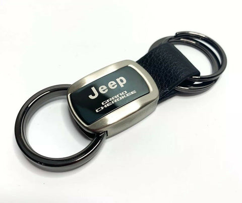 Image of Jeep Keychain - Black Metal & Leather for Grand Cherokee - Main
