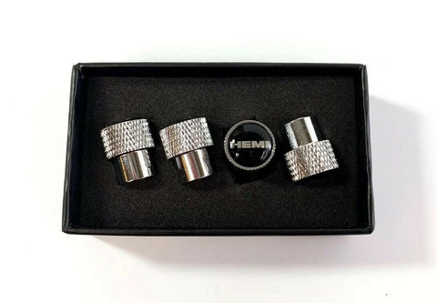 Dodge HEMI Valve Stem Caps - Knurled Chrome w/ Black - Main