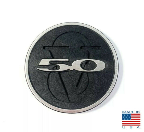 Image of 2011-2013 Ford Mustang Trunk Deck Lid 5.0 V8 Emblem - Brushed with Black Powdercoat