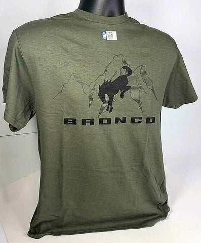 New 2021 Ford Bronco T-Shirt - Green w/ Black Emblem / Logo & Script - 2