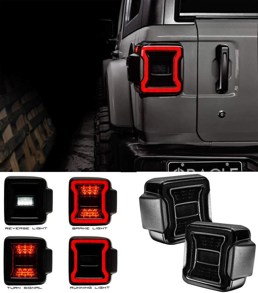 "2018-2020 Jeep Wrangler JL Pair LED Tail Lights - ""Blacked Out Series"" Premium"