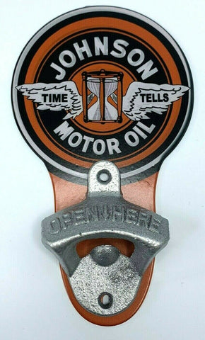 Image of Vintage Style Johnson Motor Oil Wall Mount Metal Bottle Opener Sign