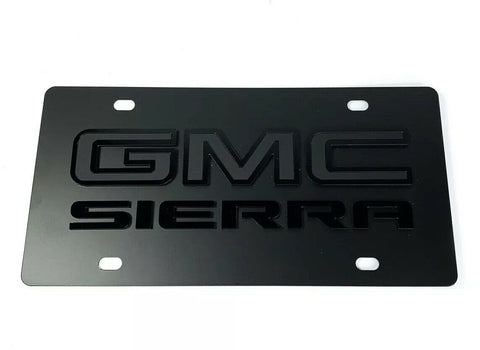 Image of GMC Sierra Emblem Premium Full Black License Plate - 3D Logo-Live Fast Supply Company