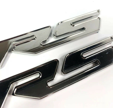 Image of Pair of 2010-2018 Chevrolet Camaro RS Side Emblems -  Chrome Billet Aluminum - 1