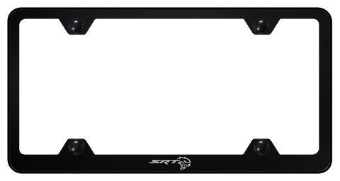 SRT Hellcat License Plate Frame - Black w/ Silver Logo - Main