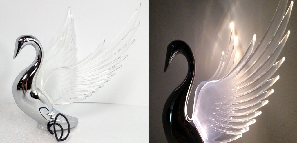 Chrome Swan / Bugler Hood Ornament - Clear Lighted Wings Flying Windrider