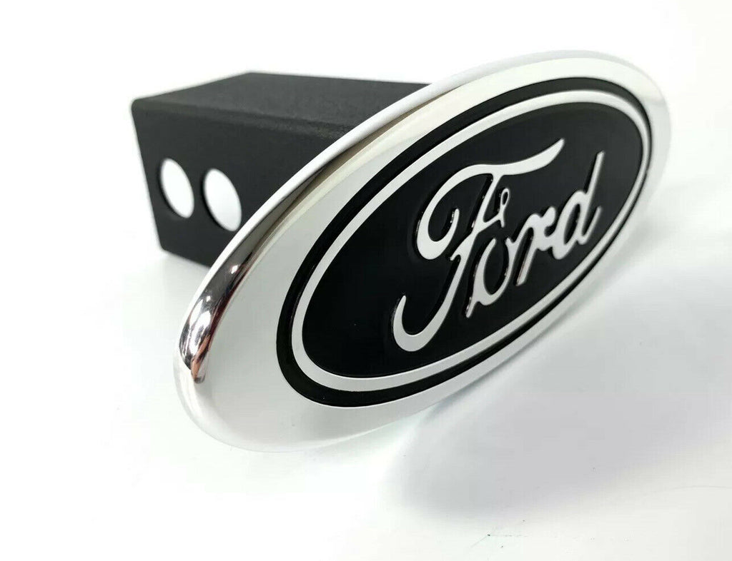 "Ford Oval Emblem Hitch Cover - Black with Chrome Aluminum Plug For 2"" Inch Receivers - 4"
