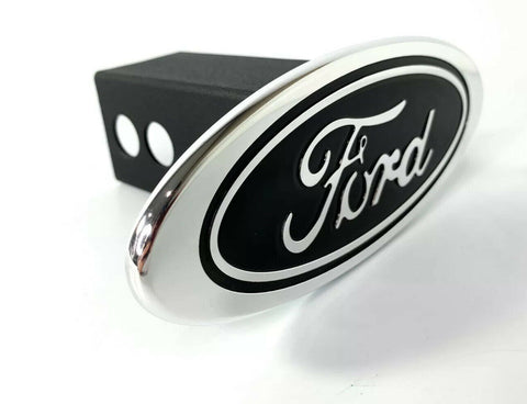 "Image of Ford Oval Emblem Hitch Cover - Black with Chrome Aluminum Plug For 2"" Inch Receivers - 4"