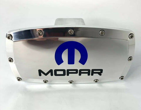 "MOPAR M Logo Polished Hitch Cover Plug For 2"" Inch Tow Receiver - Blue Inlay - 1"