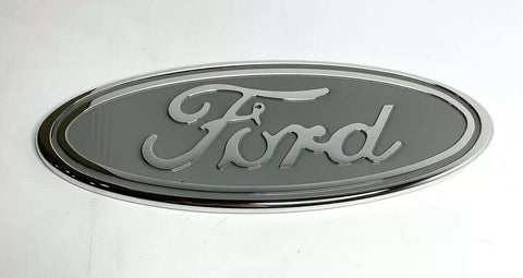 "Image of Ford Grill Tailgate Oval Emblem - 9"" Gray & Chrome Premium Billet Aluminum - 1"