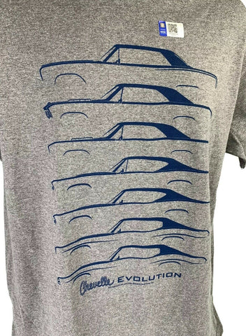 Chevrolet Chevelle Evolution T-Shirt - Gray w/ Blue Generation Body Styles - 1