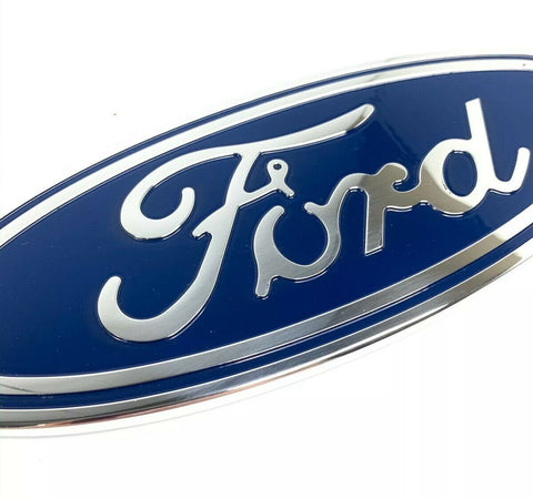 "Image of Ford Grill Tailgate Oval Emblem - 9"" Blue & Chrome Premium Billet Aluminum - 3"