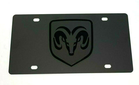 Dodge Ram Emblem Vanity License Plate - Black-Live Fast Supply Company