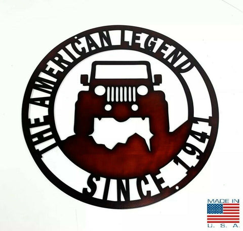 The American Legend Jeep Off Road Laser Cut Metal Sign (14'' Diameter)