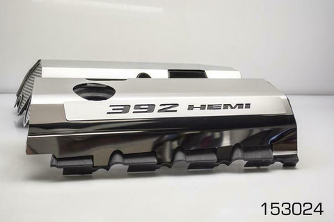 Image of 392 HEMI Fuel Rail Covers for 2011-2019 - Polished Stainless Steel w/ Carbon Fiber Inlay - Black