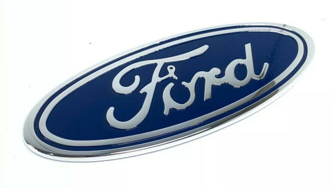 "Image of Ford Grill Tailgate Oval Emblem - 9"" Blue & Chrome Premium Billet Aluminum"