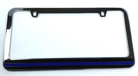Image of Police Thin Blue Line License Plate Frame - Chrome