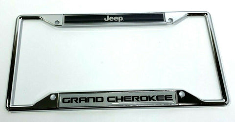Jeep Grand Cherokee License Plate Frame - Chrome w/ Black - Front