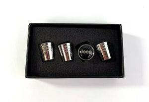 Jeep Valve Stem Caps - Tapered Chrome w/ Black - Main
