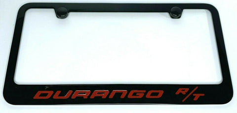 Dodge Durango R/T License Plate Frame - Black w/ Red Script - Front