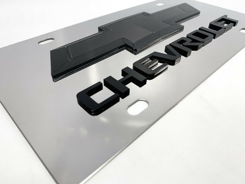 Image of Chrome Chevy Bowtie Emblem License Plate w/ 3D Black Chevrolet Script Logo - 2