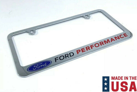 Ford Performance Premium Chrome License Plate Frame w/ Blue Oval Emblem
