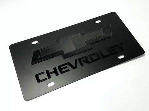 Image of Chevy Bowtie Emblem Black License Plate w/ 3D Gloss Chevrolet Script / Logo