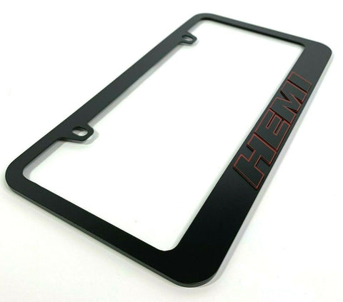 Image of HEMI License Plate Frame - Matte Black Frame w/ Black & Red Letters - Front