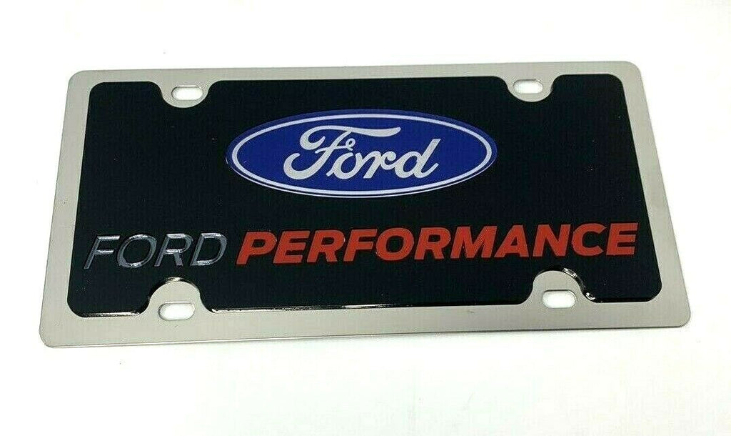 Ford Performance License Plate - Polished Stainless Steel w/ Black Acrylic Emblem - Front