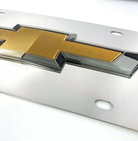 Image of Chrome Chevy Bowtie Emblem License Plate w/ 3D Gold Gloss Logo - 3