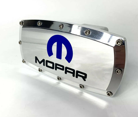 "MOPAR M Logo Polished Hitch Cover Plug For 2"" Inch Tow Receiver - Blue Inlay - 3"