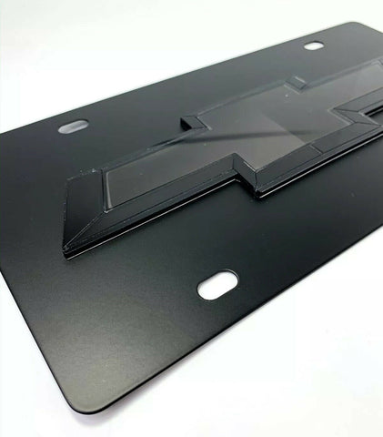 Image of Chevy Bowtie Emblem Black License Plate w/ 3D Gloss Logo - 1