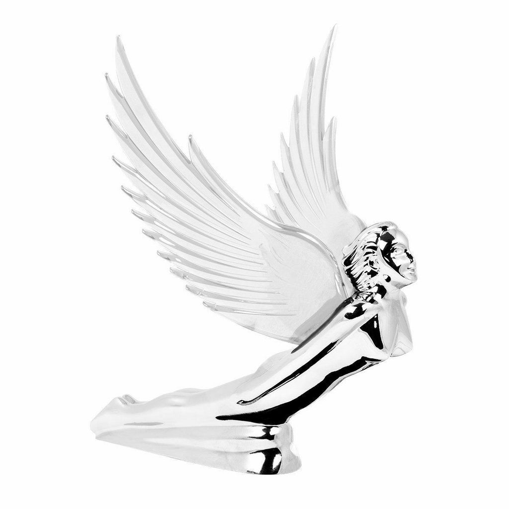 Flying Goddess Hood Ornament - Chrome w/ Clear Lighted Wings