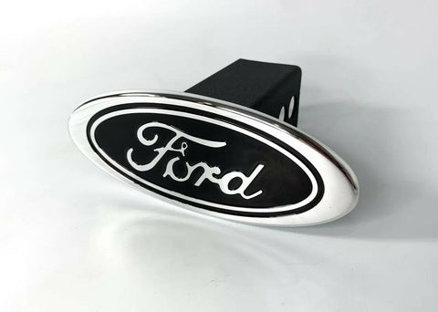 "Image of Ford Oval Emblem Hitch Cover - Black with Chrome Aluminum Plug For 2"" Inch Receivers - 1"