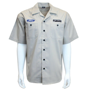 Mechanic Style Button Up Shirt - Gray w/ Blue Ford Oval & Black F-150 Emblem