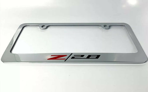 Camaro Z/28 Chrome License Plate Frame - Premium Engraved Logo / Emblem - 1