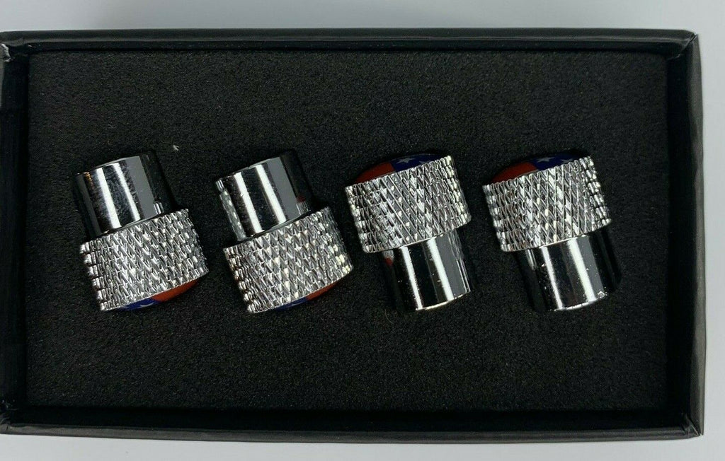 Corvette C6 Valve Stem Caps - Knurled Chrome w/ Black - Side