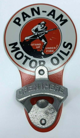 Image of Vintage Style Pan - Am Motor Oils Wall Mount Metal Bottle Opener Sign