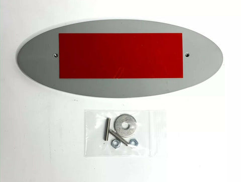 "Image of Ford Grill Tailgate Oval Emblem - 9"" Gray & Chrome Premium Billet Aluminum - Back and Hardware"