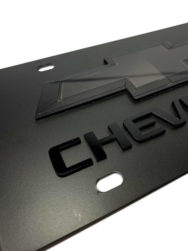 Chevy Bowtie Emblem Black License Plate w/ 3D Gloss Chevrolet Script / Logo - 1