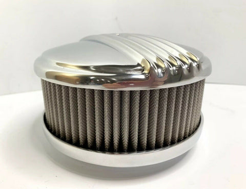 "Image of Polished Half Finned Aluminum Air Cleaner - 4 Barrel 6-3/8"" Show Quality - 4"
