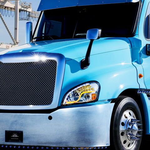 Image of Pair of LED Headlights with Dual Function LED DRL & Turn for Freightliner Cascadia - 3