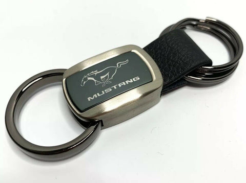 Ford Mustang Keychain - Black Leather w/ Metal - Front 2