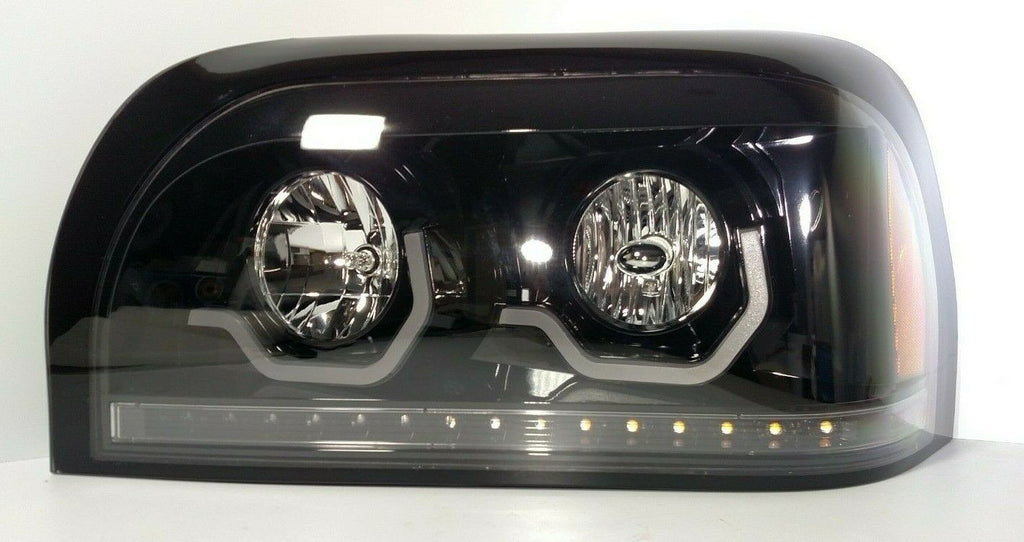 Pair Blackout Headlights with LED Turn Signal & Light Bar for Freightliner Century - 1