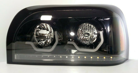 Image of Pair Blackout Headlights with LED Turn Signal & Light Bar for Freightliner Century - 1