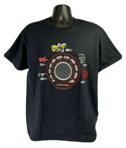 Image of Black T-Shirt w/ Speedometer Dodge Challenger & Charger Trim Levels