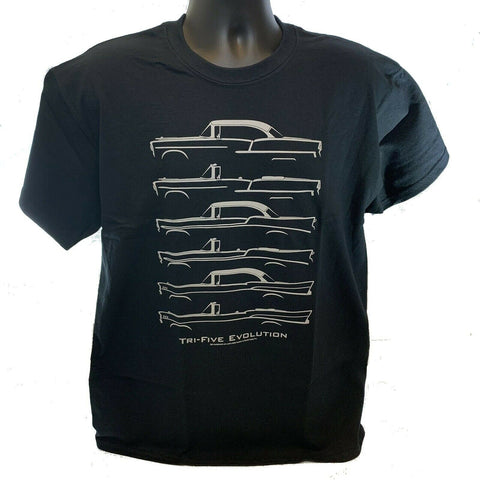 Image of Chevrolet T-Shirt - Gray w/ Tri-5 Models 1955-57 Bel Air 210 / 150 (Licensed)